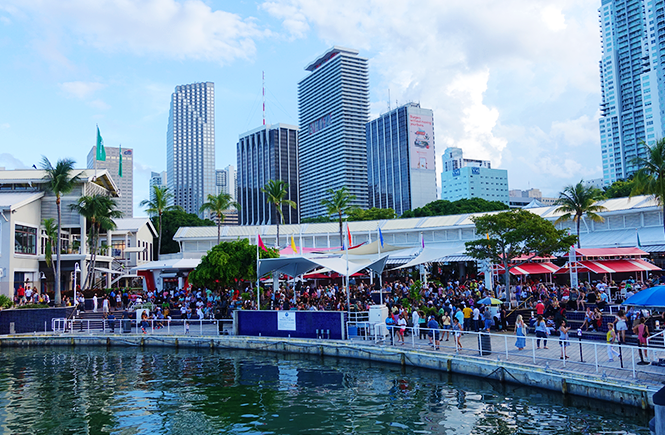 Photo of Bayside Marketplace's outdoor amphitheater from the bay.