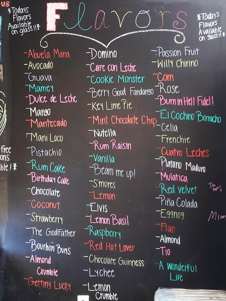 Photo of the Azucar Cuban ice cream menu.