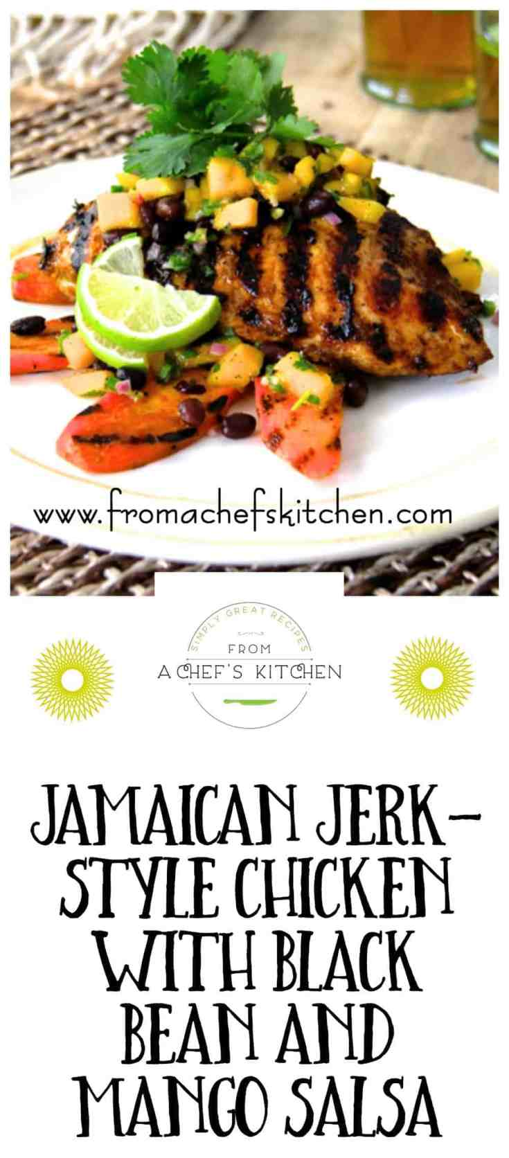 """Jamaican Jerk-Style Chicken with Black Bean and Mango Salsa is super flavorful and sure to """"up"""" your grill game! #jamaicanchicken #jerkchicken #chicken #chickenrecipes"""