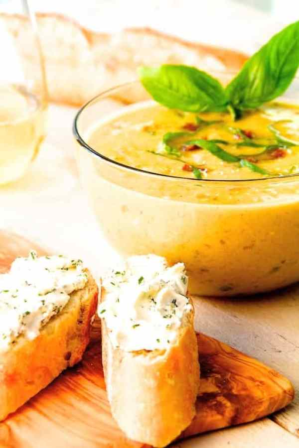Sweet Corn and Sun Dried Tomato Chowder with Goat Cheese and Chive Croutons