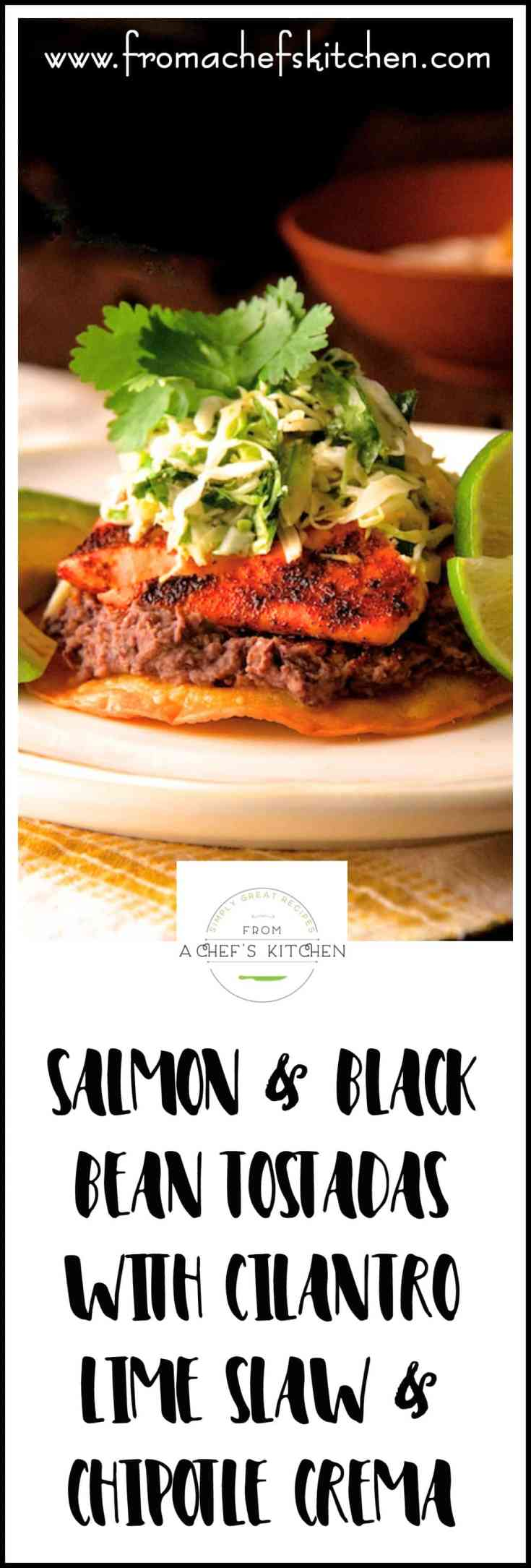 Salmon and Black Bean Tostadas with Cilantro Lime Slaw and Chipotle Crema are full of lively flavors for the perfect date night dinner for two. They may even turn a salmon hater into a salmon lover! #salmon #fish #fishrecipes #Mexican #tostadarecipes