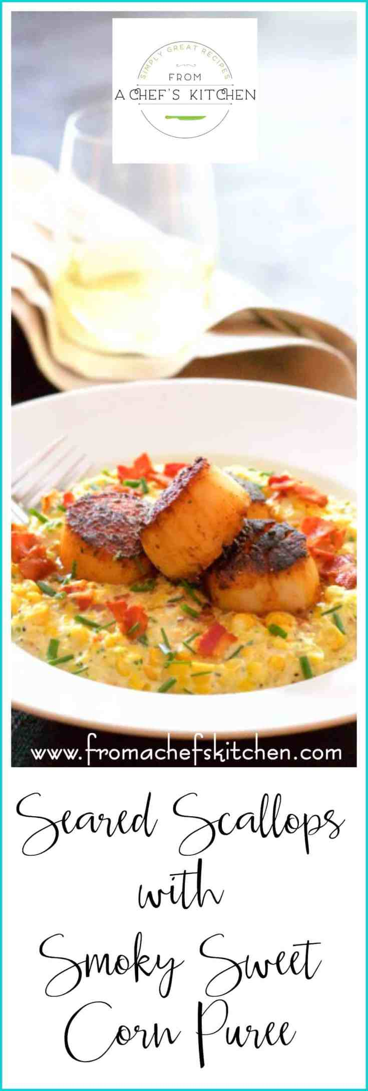 Seared Scallops with Smoky Sweet Corn Puree is a wonderful way to use leftover grilled corn and enjoy an elegant dinner for two at the same time! #searedscallops #seascallops #sweetcorn #corn #seafood #dinnerfortwo