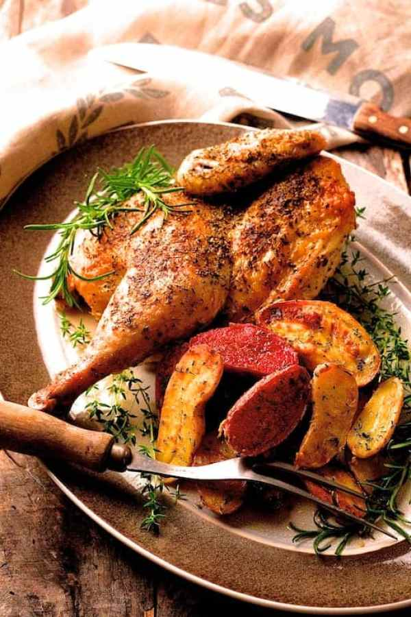 Herb and Garlic-Roasted Chicken with Dijon-Roasted Fingerlings