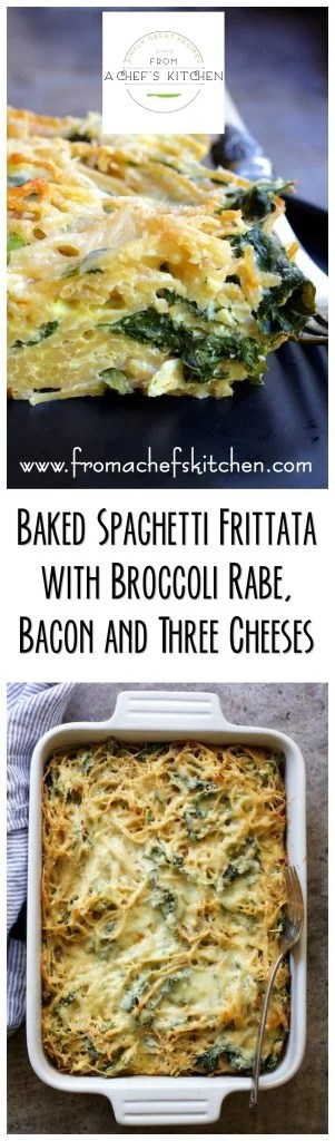 Baked Spaghetti Frittata with Broccoli Rabe, Bacon and Three Cheeses is perfect for lunch, brunch or light supper.