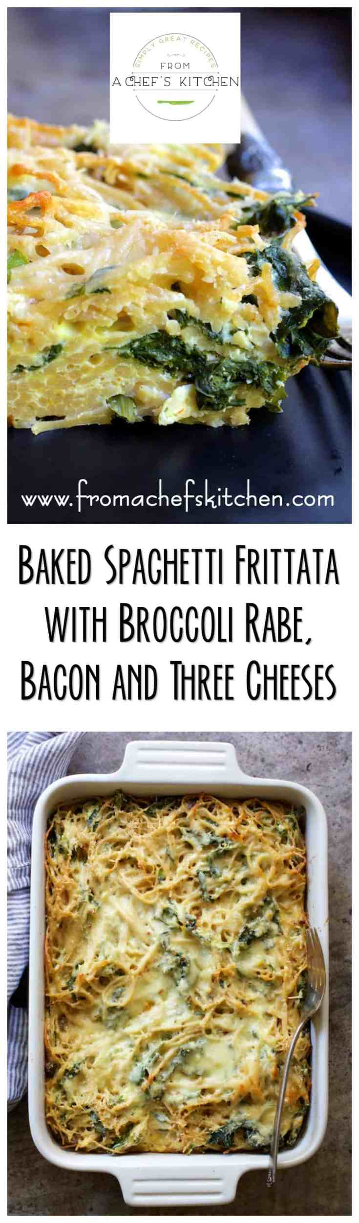 Baked Spaghetti Frittata with Broccoli Rabe, Bacon and Three Cheeses is a delicious combination of flavor and texture! Perfect for brunch, lunch or supper. #spaghetti #spaghettifrittata #breakfast #brunch #brunchrecipes