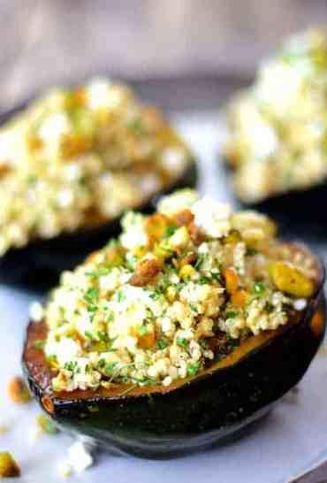 Quinoa, Feta and Pistachio-Stuffed Acorn Squash