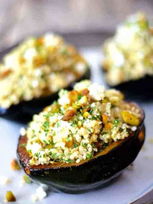 Quinoa, Feta and Pistachio-Stuffed Acorn Squash
