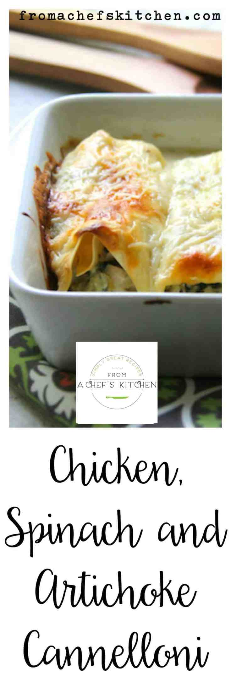Chicken, Spinach and Artichoke Cannelloni is elegant enough for a special dinner for two. Flat, no-boil lasagna noodles work perfectly for the cannelloni and you don't even need to boil them! #pasta #bakedpasta #chicken #chickenpastarecipes #chickencannelloni