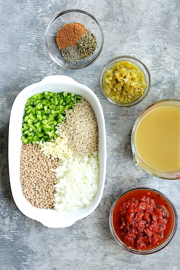 Southwestern Lentil and Brown Rice Bake - Ingredients all laid out before baking
