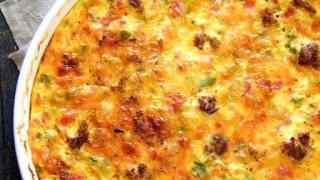 Crustless Quiche with Sausage Bacon and Ham
