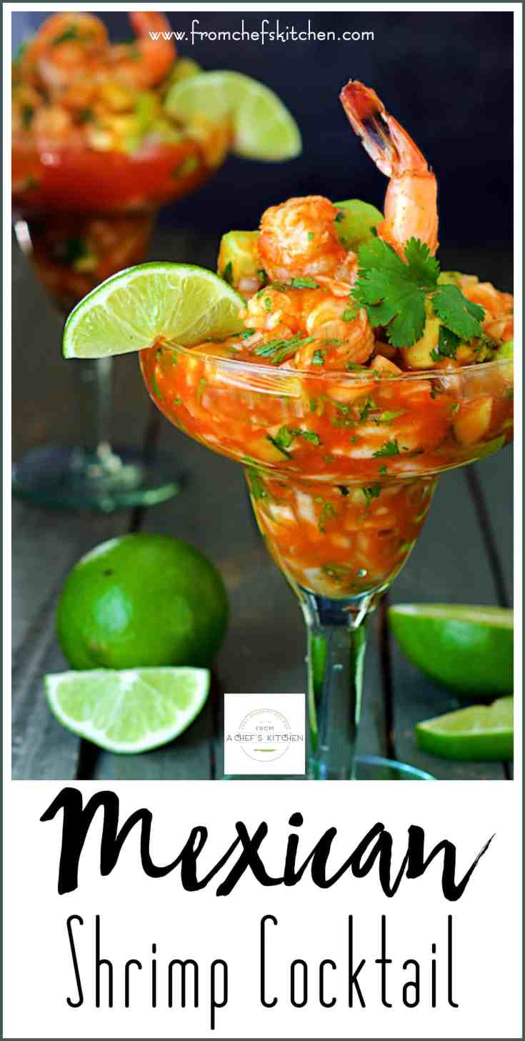 "Mexican Shrimp Cocktail, otherwise known as Cóctel de Camarónes, doesn't resemble an American shrimp cocktail at all.  This version is almost like a ""salad in a glass!""  It's chock full of crunchy vegetables and shrimp in a spicy, tangy tomato sauce. #mexican #mexicanshrimpcocktail #shrimpcocktail"