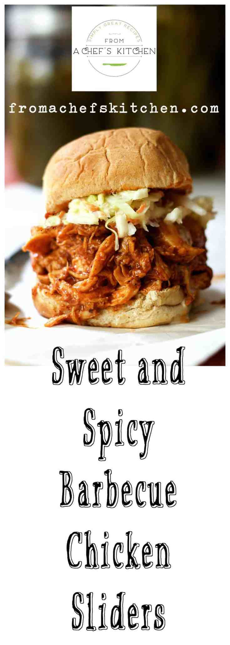 Sweet and Spicy Barbecue Chicken Sliders are perfect for when you're in the mood for a barbecue sandwich but you're not in the mood to go out or go to a lot of trouble! #chickenslider #barbecuechicken #barbecue #barbecuechickenslider