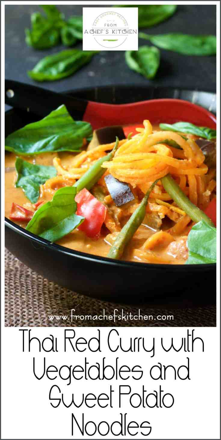 Thai Red Curry with Vegetables and Sweet Potato Noodlesis spicy, healthful comfort food any time you need a shot of goodness! #vegetarian #vegan #redcurry #thai #thaifood #vegetables #sweetpotato