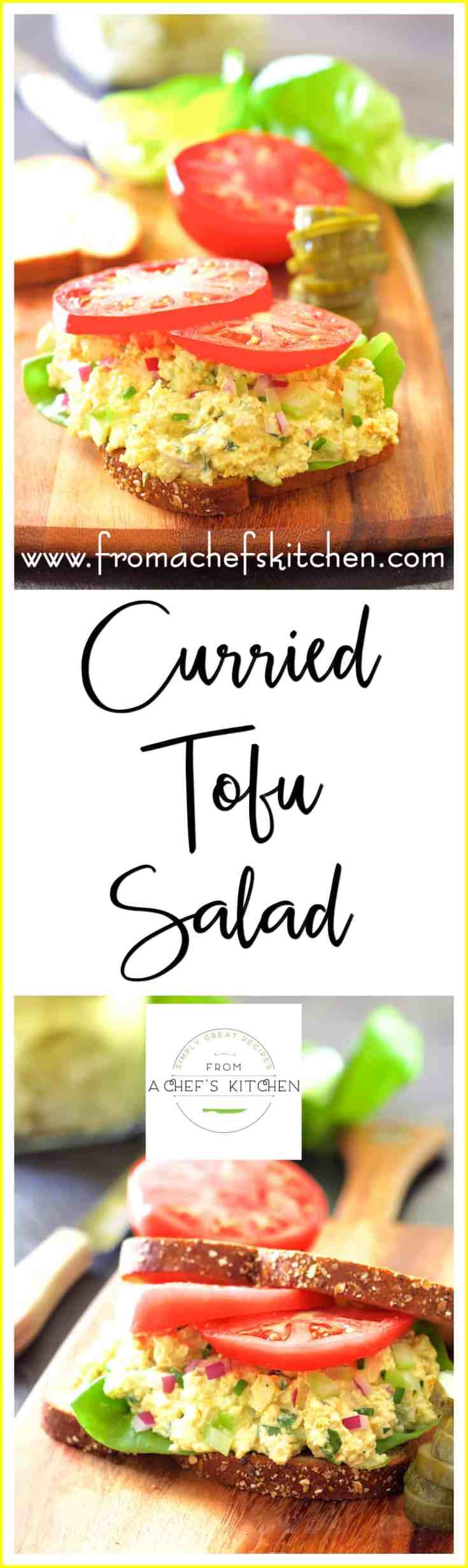 Curried Tofu Salad will change your mind about tofu!  It's the perfect flavorful, protein-packed alternative to egg salad.  Curried Tofu Salad is perfect to pile onto whole-grain bread for a delicious sandwich or stuff into a tomato or avocado for something a little more elegant.  #tofu #tofusalad #vegetarian #curry #Indianfood