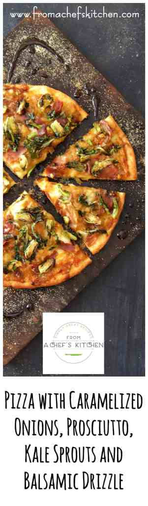 This sophisticated pizza turns pizza night into a special occasion! Pizza with Caramelized Onions, Prosciutto, Kale Sprouts and Balsamic Drizzle. Mama mia!