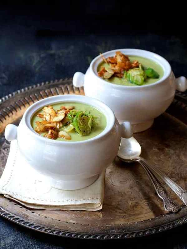 Cream of Brussels Sprouts Soup with Butter and Turbinado Roasted Almonds