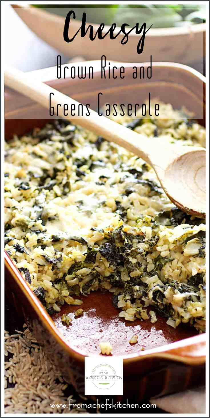 Cheesy Brown Rice and Greens Casserole is a delicious, hearty, vegetarian casserole that's also super flexible! Use any kind of grain such as quinoa, barley or lentils and any type of leafy green. #vegetarian #vegetariancasserole #vegetarianmeals #brownrice #greens