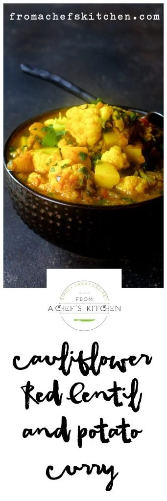 Indian-inspired Cauliflower Red Lentil and Potato Curry is simply healthy comfort food!