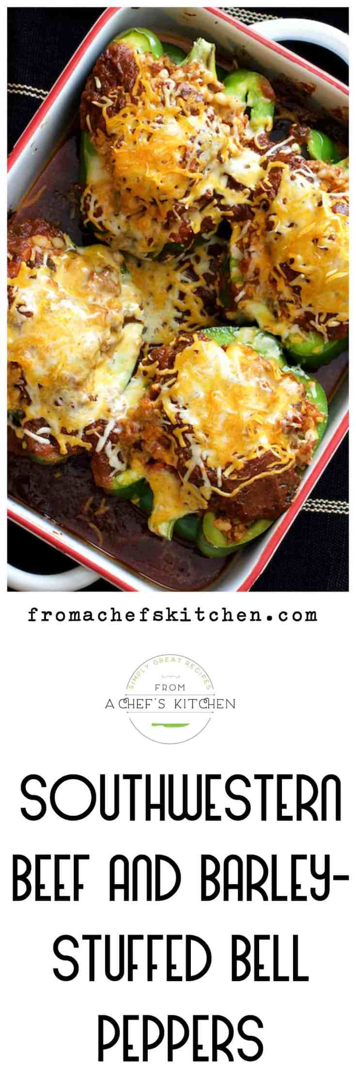 Southwestern Beef and Barley Stuffed Bell Peppers are a spicy twist on traditional stuffed bell peppers you and your family will love! #stuffedpeppers #beefstuffedpeppers #southwestern #southwesternfood