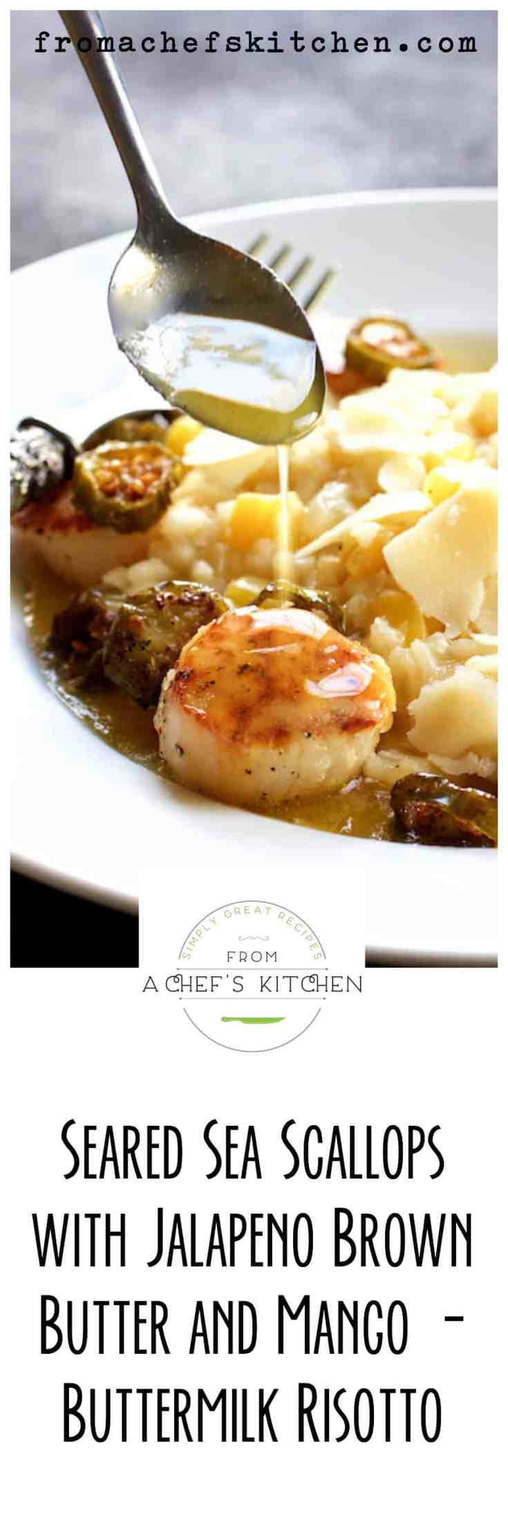 Seared Sea Scallops with Jalapeno Brown Butter and Mango Buttermilk Risotto is a lovely and flavorful dinner for two that's perfect for a memorable evening! #scallops #seascallops #jalapeno #brownbutter #risotto #datenightdinners