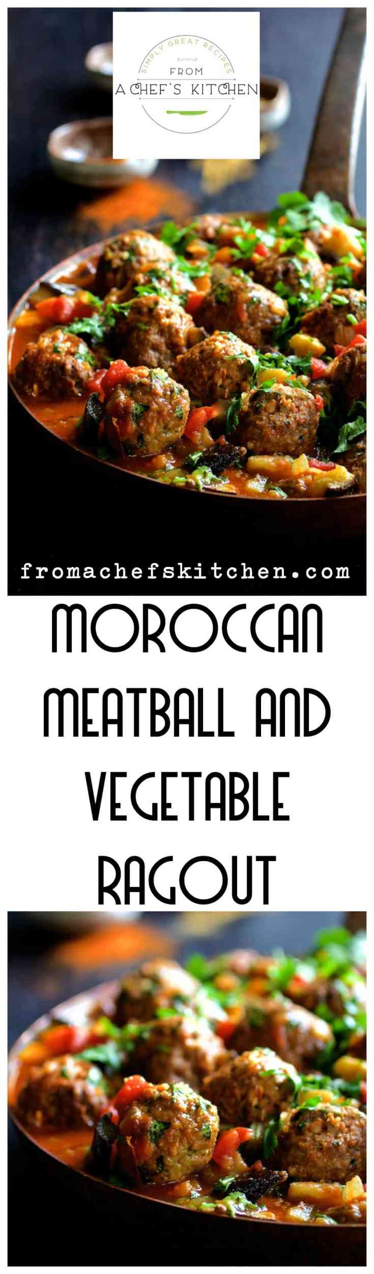 Moroccan Meatball and Vegetable Ragout is serious meatball and vegetable goodness going on!  Sure to spice up any night with tender spiced meatballs along with onions, bell peppers and eggplant blanketed in a zesty tomato-based sauce. #meatball #moroccan #moroccanfood #moroccanmeatball #vegetable