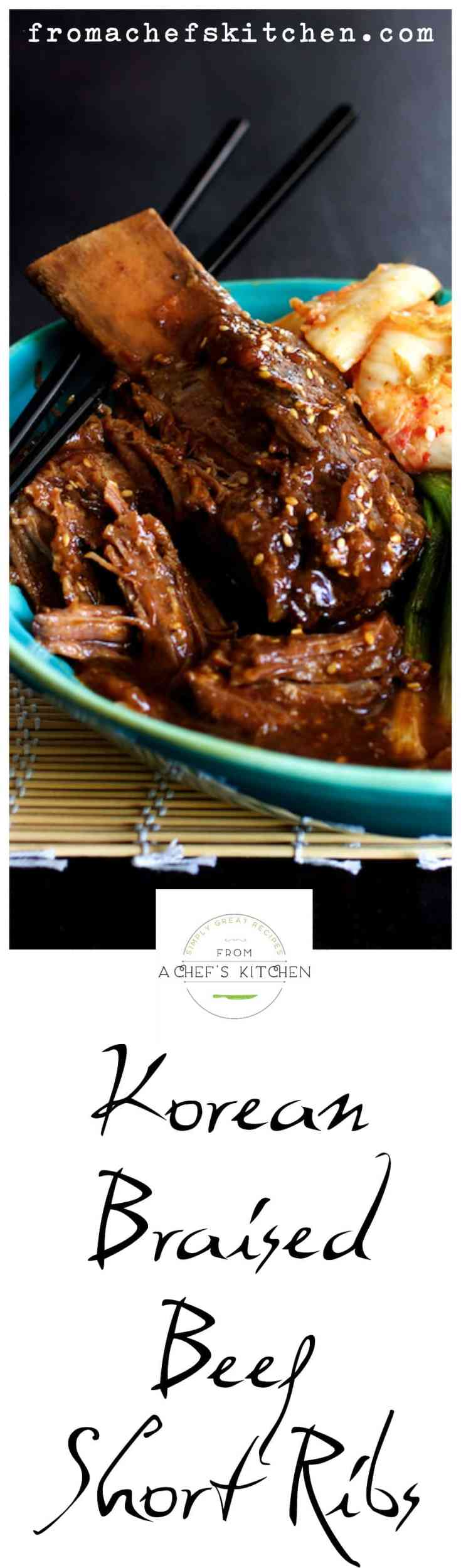 Korean Braised Beef Short Ribs are slightly spicy, slightly sweet and totally amazing!  Slow-braising makes them fall-off-the-bone tender! #beef #shortribs #korean #koreanfood
