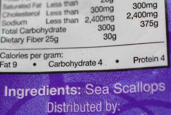Photo of a bag of scallops showing the only ingredient is sea scallops