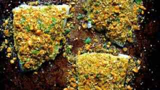 Curried Chickpea Encrusted Fish with Jalapeno Lime Tartar Sauce