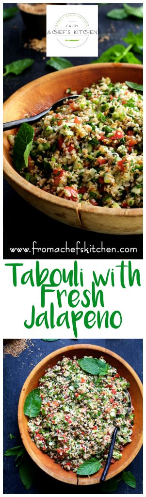 Tabouli with Fresh Jalapeno is a spicy twist on the Middle Eastern classic!