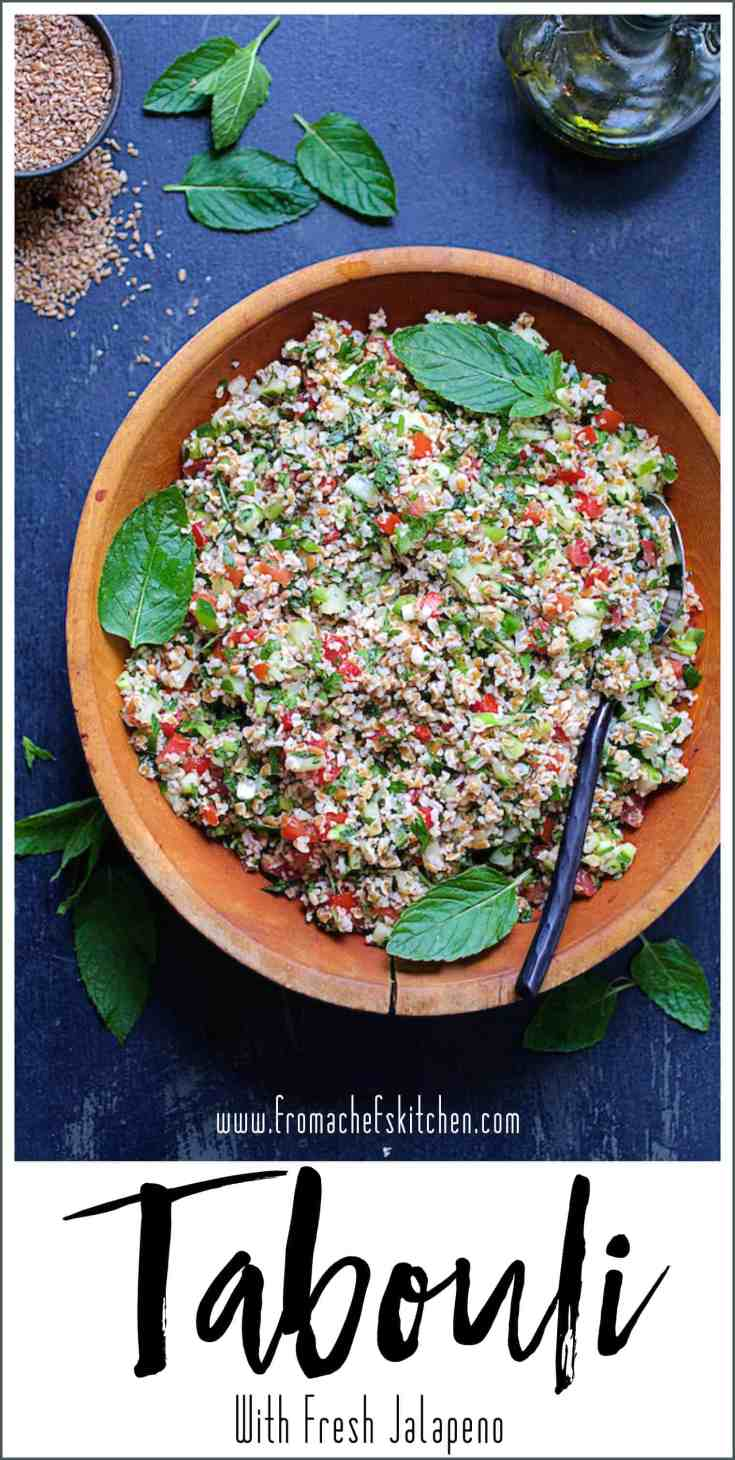 Tabouli (Tabbouleh) with Fresh Jalapeno has loads of fresh herbs, crunchy vegetables and a lively lemon dressing.  It's the perfect salad to make and enjoy all summer long. #tabouli #tabbouleh #salads #vegansalad #vegan