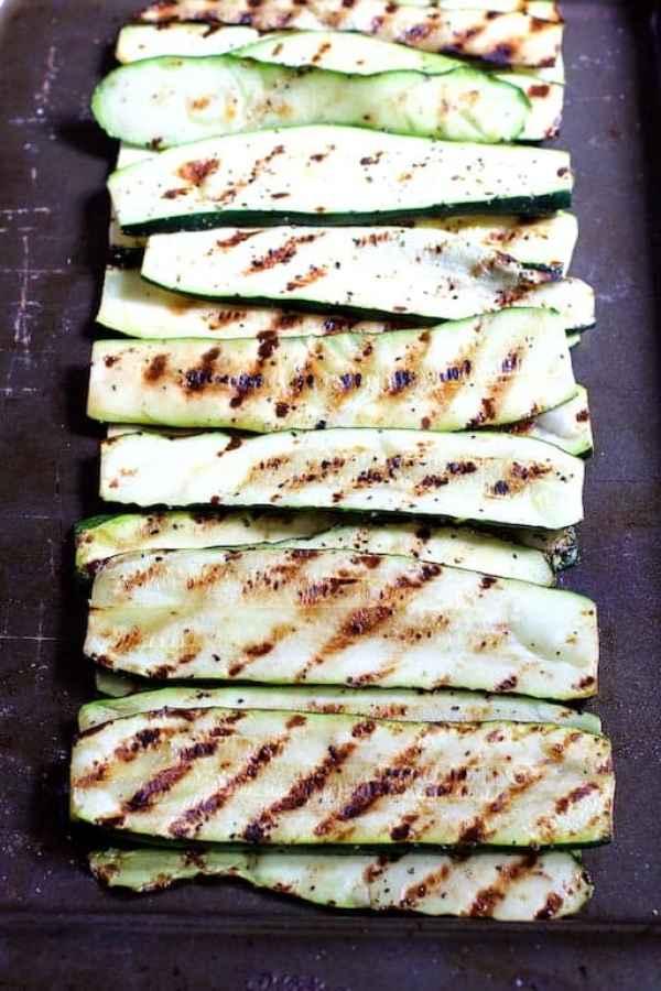 Photo of finished grilled zucchini on sheet pan