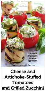 Pinterest image for Cheese and Artichoke Stuffed Tomatoes and Grilled Zucchini