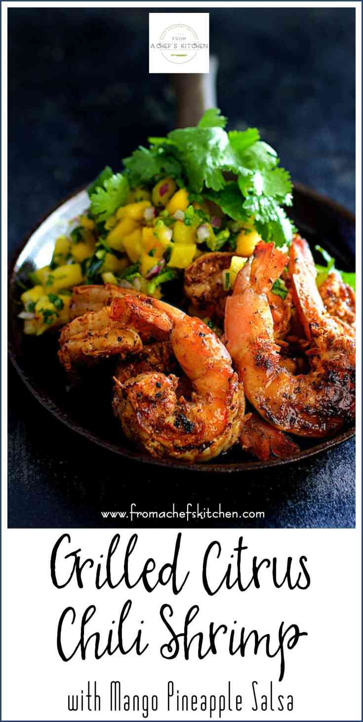 Grilled Citrus Chili Shrimp with Mango Pineapple Salsa is a quick, simple summer appetizer or the right amount for a lovely dinner for two. #shrimp #shrimpappetizer #mango #pineapple #salsa