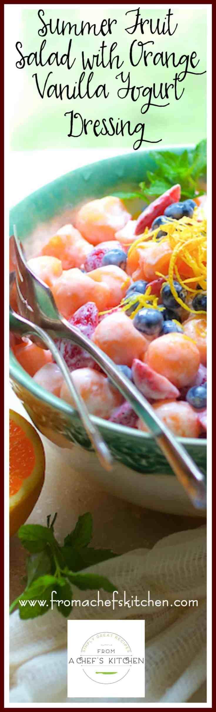 Summer Fruit Salad with Orange Vanilla Yogurt Dressing with Greek yogurt, fresh orange juice, vanilla and agave is a modern spin on classic fruit salad. #fruitsalad #fruit #salad #Greekyogurt