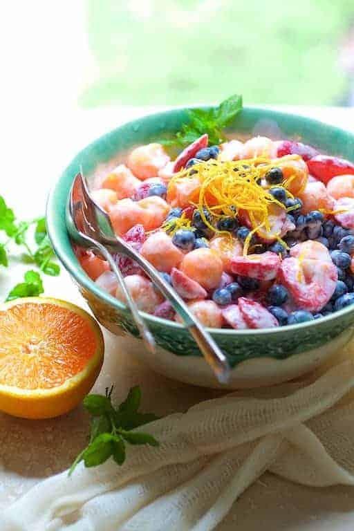 Summer Fruit Salad with Orange Vanilla Yogurt Dressing