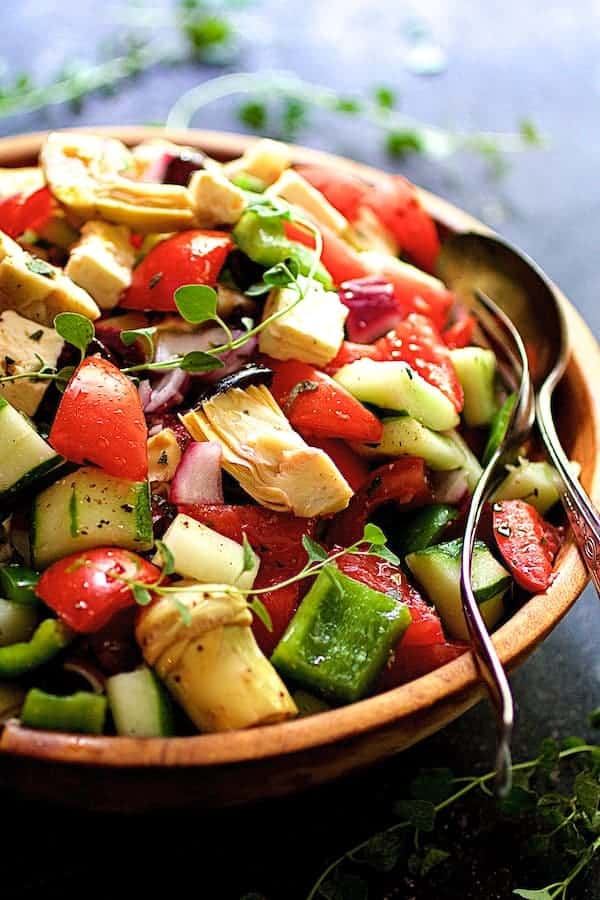 Greek Vegetable Salad with Marinated Feta Cheese