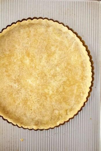 Overhead shot of tart crust after baking