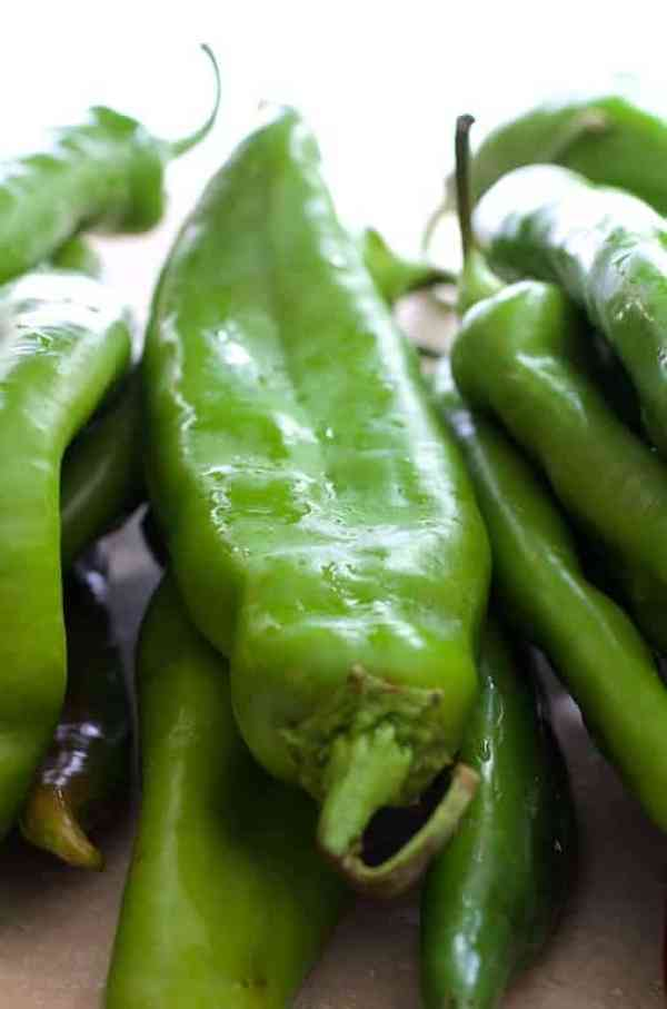 Close-up of fresh Hatch green chiles