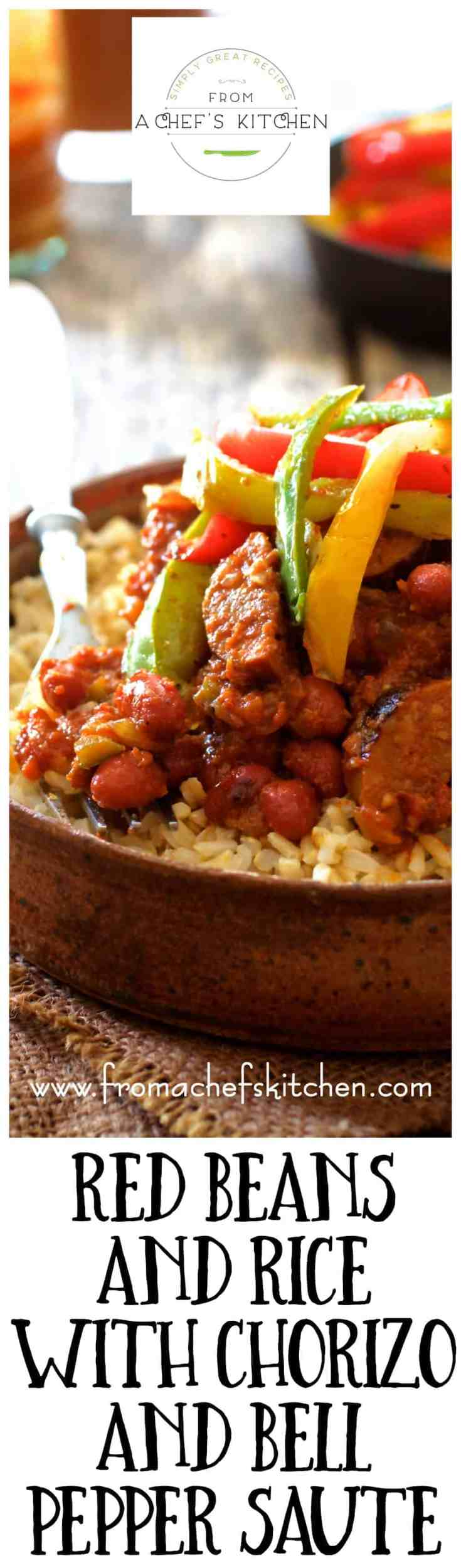 Red Beans and Rice with Chorizo and Bell Pepper Saute is perfect fall Tex-Mex inspired comfort food that's still on the light side! #redbeansandrice #redbeans #beansandrice #chorizo #bellpepper