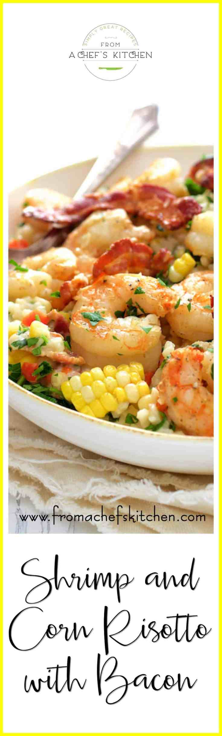 Shrimp and Corn Risotto with Bacon is an American twist on traditional risotto and the perfect summer comfort food! #shrimp #shrimprisotto #corn #risotto #bacon #seafood