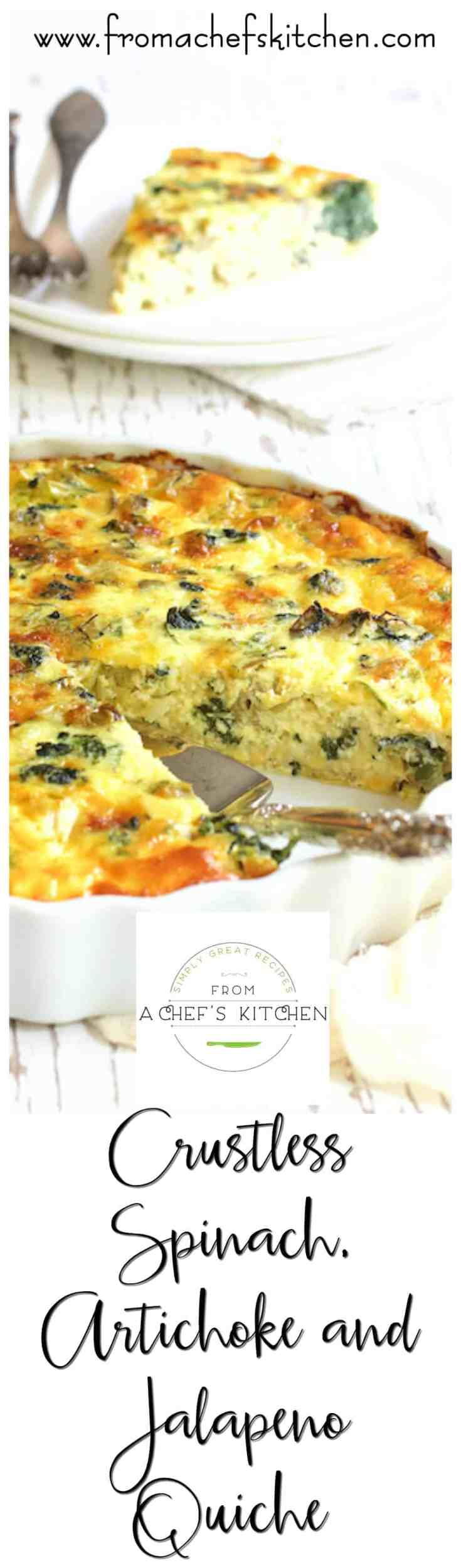 Crustless Spinach, Artichoke and Jalapeno Quiche is quiche with a kick! Low-carb and perfect for when you need fancy or just want simple and rustic. #crustlessquiche #lowcarb #lowcarbquiche #spinach #artichoke #jalapeno #quiche