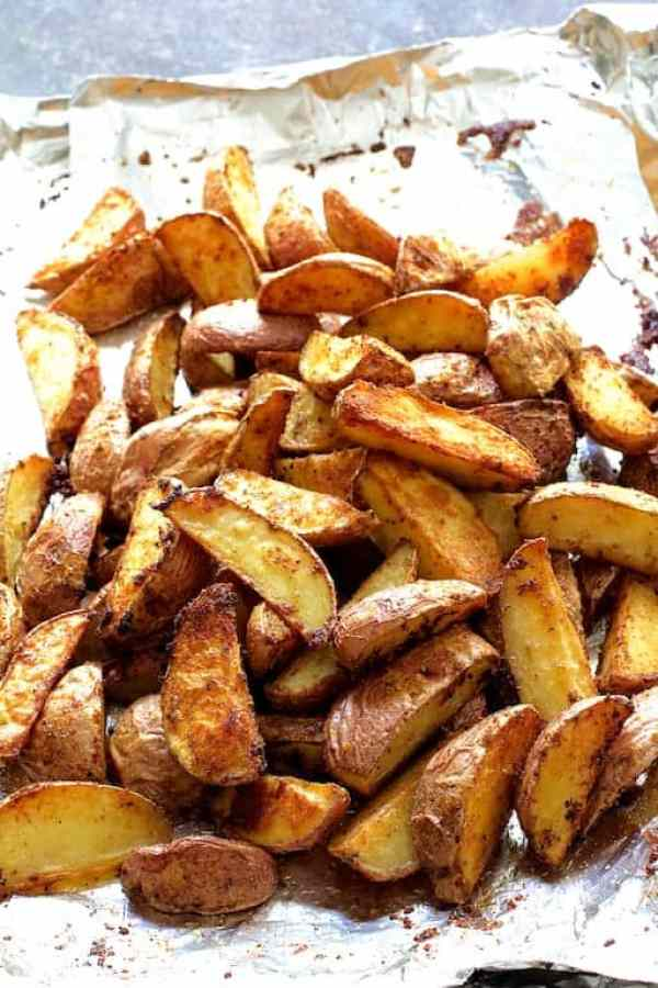 Perfect Roasted Potato Wedges on nonstick foil