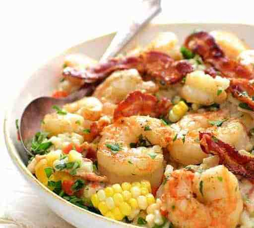 Shrimp and Corn Risotto with Bacon