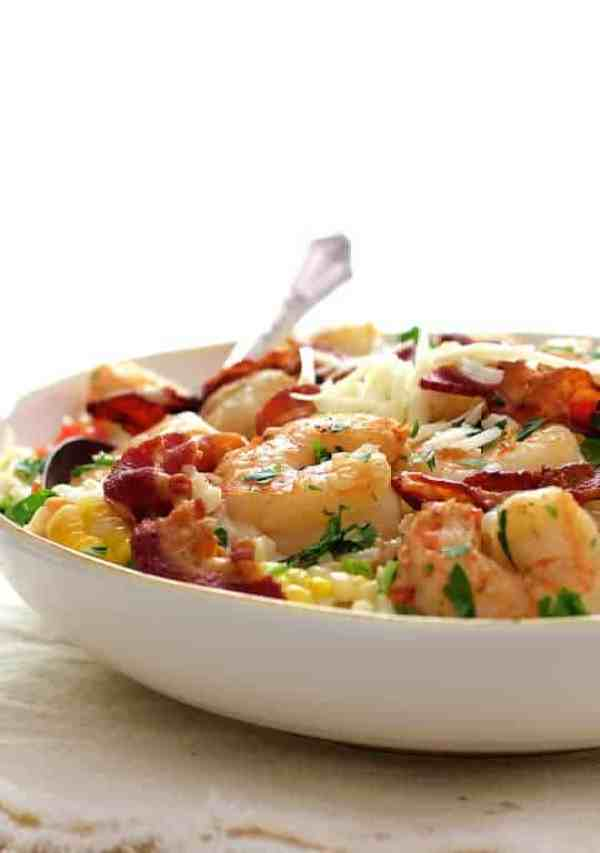 Shrimp and Corn Risotto with Bacon - Straight-on shot in white bowl
