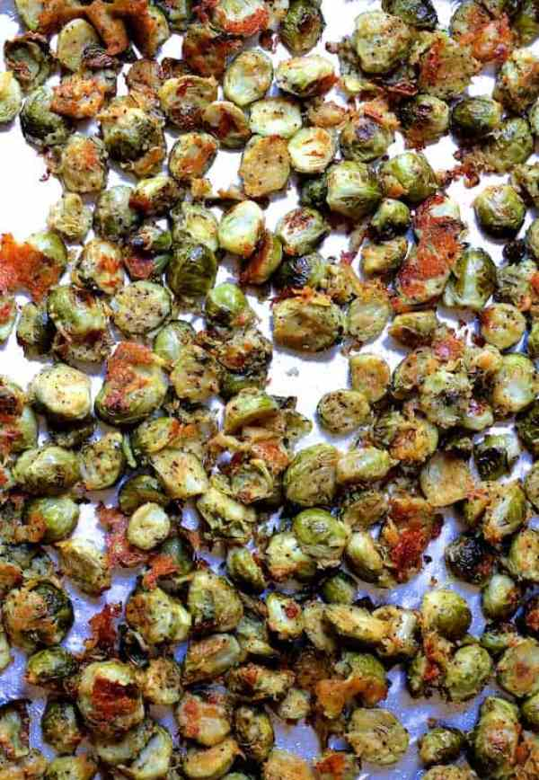 Lemon Parmesan Crusted Brussels Sprouts - Overhead shot on baking sheet