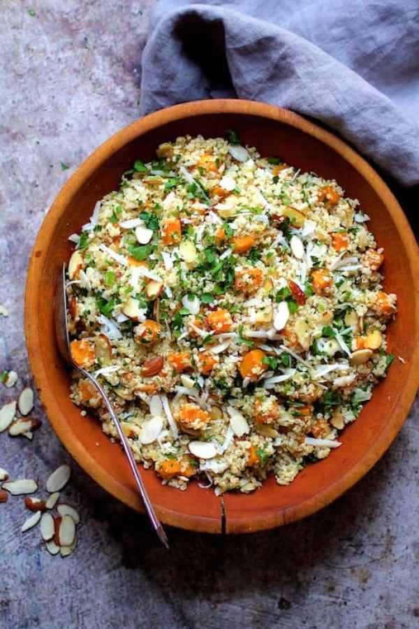Lemony Quinoa with Butternut Squash, Almonds and Parmesan Cheese