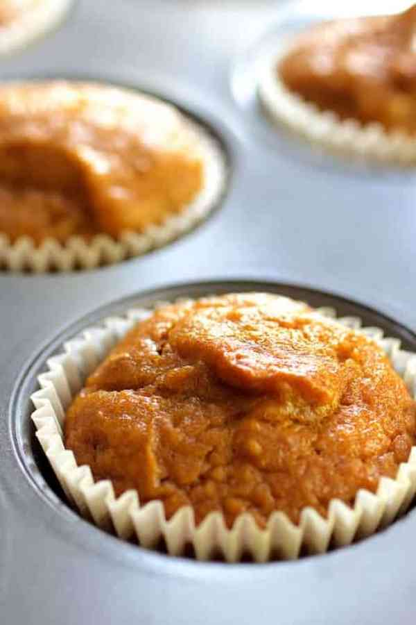 Simply Pumpkin Muffins - Close-up shot of muffin in muffin tin