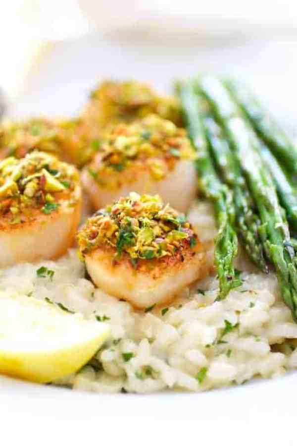 Pistachio Encrusted Sea Scallops with Champagne Risotto and Roasted Asparagus - Close-up shot