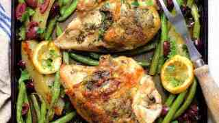 Sheet Pan Roast Chicken with Potatoes Green Beans Olives and Lemon