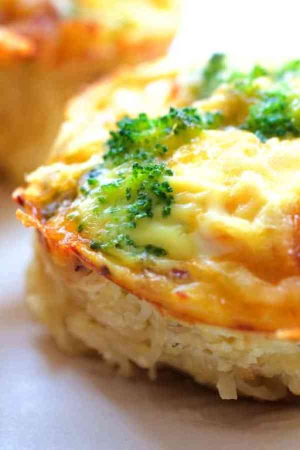 Spaghetti Squash Broccoli Bacon and Cheddar Mini Quiches - Side view close-up shot of quiche